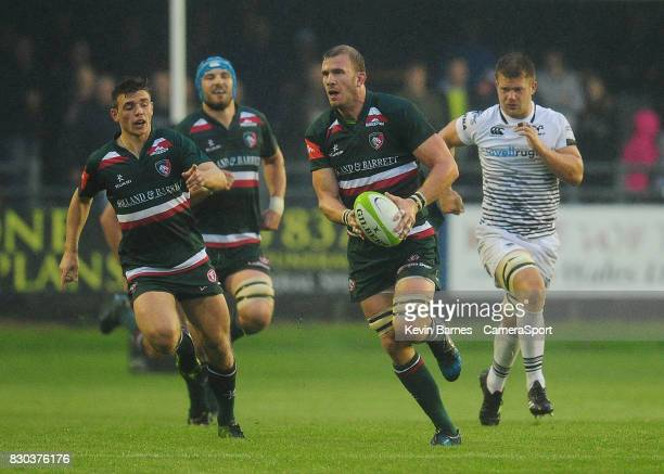 Leicester Tigers' Tom Croft during the preseason friendly match between Ospreys and Leicester Tigers at Brewery Field on August 11 2017 in Bridgend...
