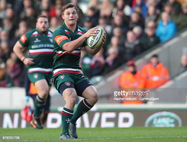 Leicester Tigers' Will Evans during the Aviva Premiership match between Leicester Tigers and Sale Sharks at Welford Road on November 19 2017 in...