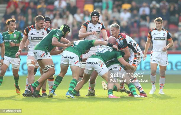 Leicester Tigers's Freddie Steward in the thick of the action during the Gallagher Premiership Rugby match between London Irish and Leicester Tigers...