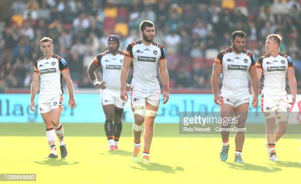 Leicester Tigers's George Ford, Nemani Nadolo, George Martin, Ellis Genge and Tommy Reffell during the Gallagher Premiership Rugby match between...