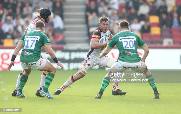Leicester Tigers's Hanro Liebenberg takes on London Irish's George Nott during the Gallagher Premiership Rugby match between London Irish and...
