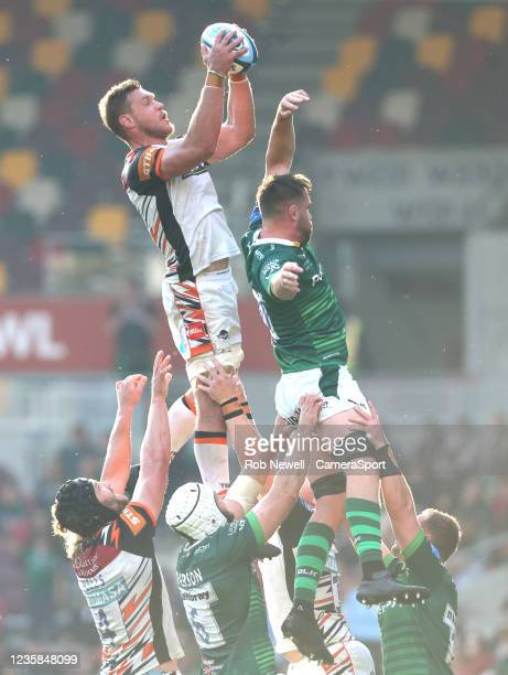 Leicester Tigers's Hanro Liebenberg takes the ball in the line-out during the Gallagher Premiership Rugby match between London Irish and Leicester...