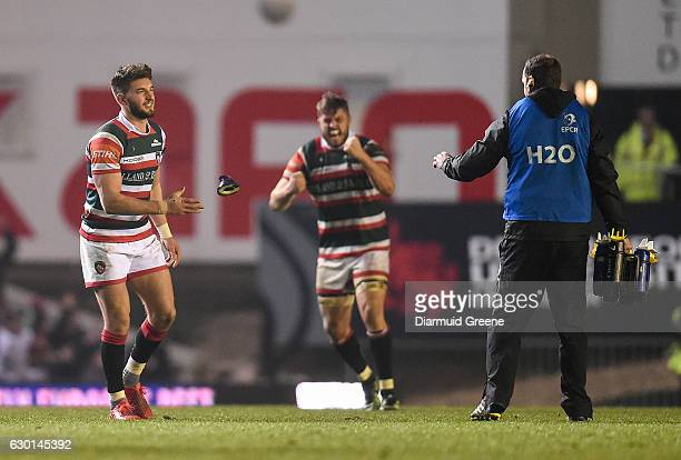 Leicester United Kingdom 17 December 2016 Owen Williams of Leicester Tigers reacts after kicking the winning penalty as he gives his kicking tee to...