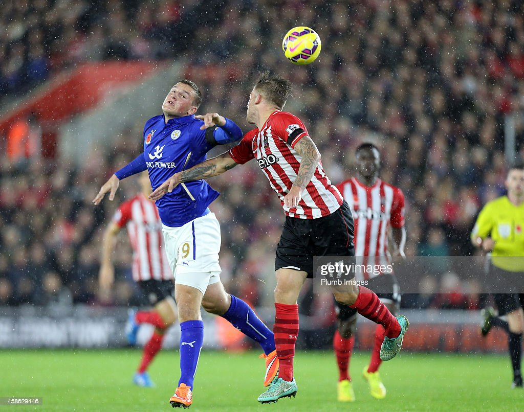 Leicesters Chris Wood with Southampton's Toby Alderweireld during the Barclays Premier League match between Southampton and Leicester City at St Mary's Stadium on November 8, 2014 in Southampton, England.