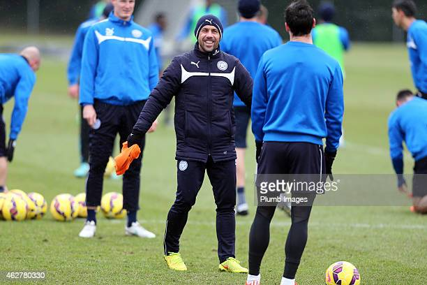 Leicester's coach Kevin Phillips during the Leicester City training session at Belvoir Drive Training Ground on February 05 2015 in Leicester England