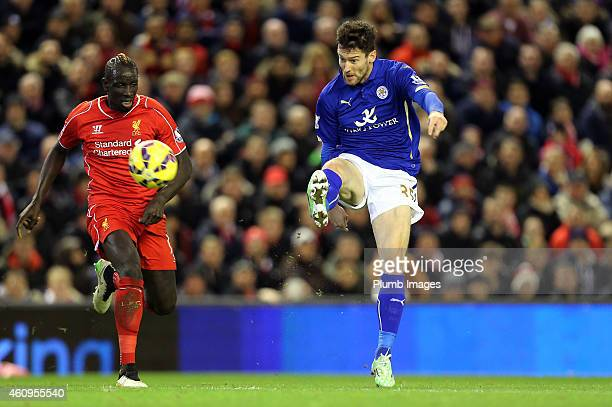 Leicester's David Nugent scores and celebrates to make it 21 during the Premier League match between Liverpool and Leicester City at Anfield on...