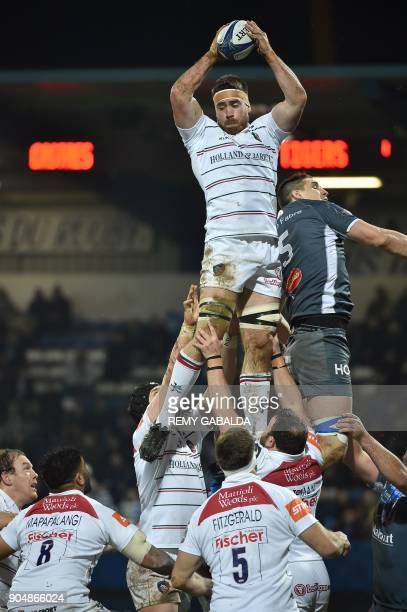 Leicester's flanker Dominic Ryan grabs the ball in a line outduring the European Champions Cup rugby union match between Castres Olympique and...