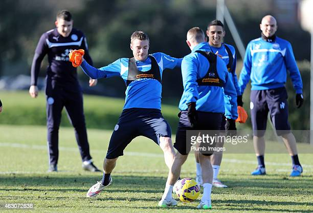 Leicester's Jamie Vardy tackles Paul Konchesky during first team training during the Leicester City training session at Belvoir Drive Training Ground...