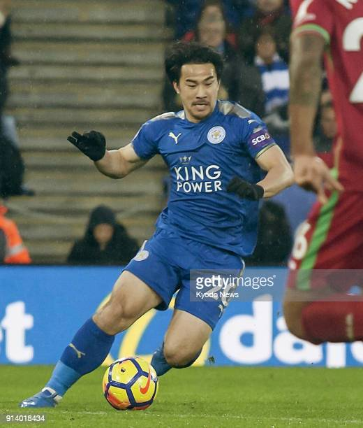 Leicester's Japan international Shinji Okazaki dribbles the ball during the second half of his side's 11 draw with Swansea in Leicester on Feb 3 2018...