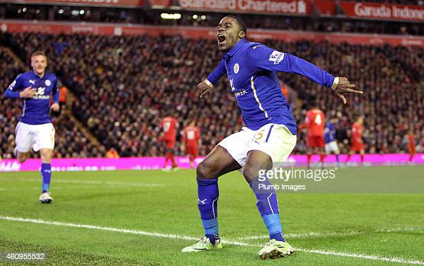 Leicester's Jeff Schlupp celebrates his equalising goal to make it 22 during the Premier League match between Liverpool and Leicester City at Anfield...