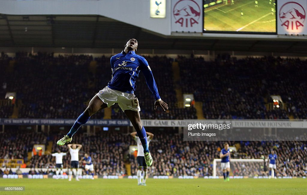 Leicester's Jeff Schlupp celebrates his winning goal making it 1-2 during the FA Cup Fourth Round match between Tottenham Hotspur and Leicester City at White Hart Lane on January 24, 2015 in London, England.