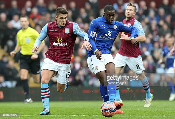 Leicester's Jeff Schlupp takes on Aston Villa's Ashley Westwood during the FA Cup Fifth Round match between Aston Villa and Leicester City at Villa...
