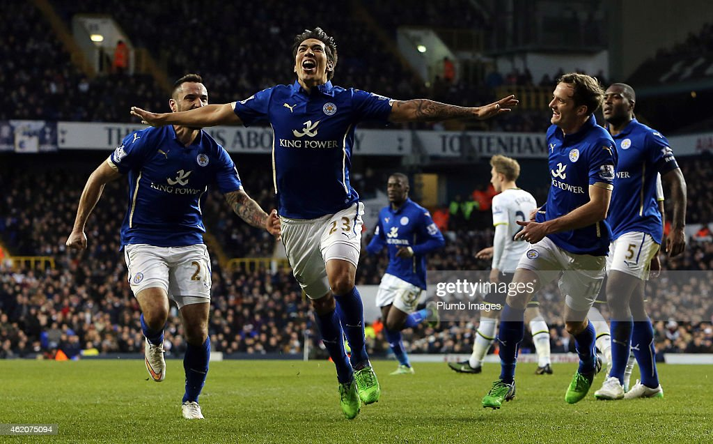 Leicester's Leo Ulloa celebrates making it 1-1 during the FA Cup Fourth Round match between Tottenham Hotspur and Leicester City at White Hart Lane on January 24, 2015 in London, England.