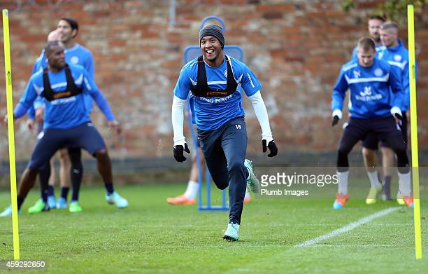 Leicesters Liam Moore attends the Leicester City training session at Belvoir Drive Training Ground on November 20 2014 in Leicester England