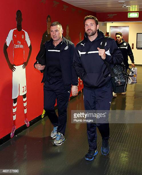 Leicester's manager Nigel Pearson and Matthew Upson arrive ahead of the Barclays Premier League match between Arsenal and Leicester City at the...