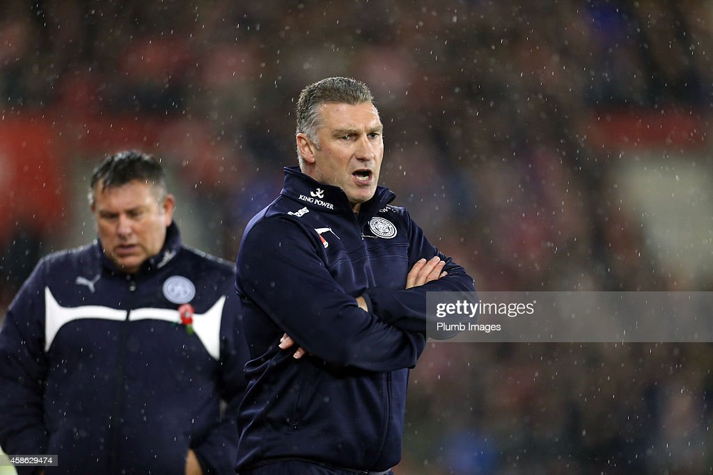 Leicesters manager Nigel Pearson during the Barclays Premier League match between Southampton and Leicester City at St Mary's Stadium on November 8, 2014 in Southampton, England.