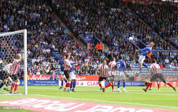 Leicester's Matt Mills has a header at goal during the npower Championship match between Leicester City and Southampton at the King Power stadium on...