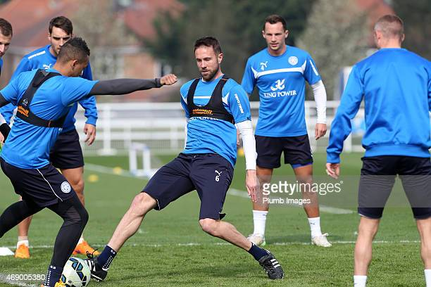Leicester's Matthew Upson during the Leicester City training session at Belvoir Drive Training Ground on April 09, 2015 in Leicester, England.