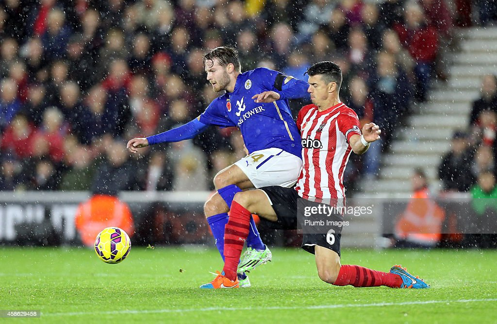 Leicesters Nick Powell with Southampton's Jose Fonte during the Barclays Premier League match between Southampton and Leicester City at St Mary's Stadium on November 8, 2014 in Southampton, England.