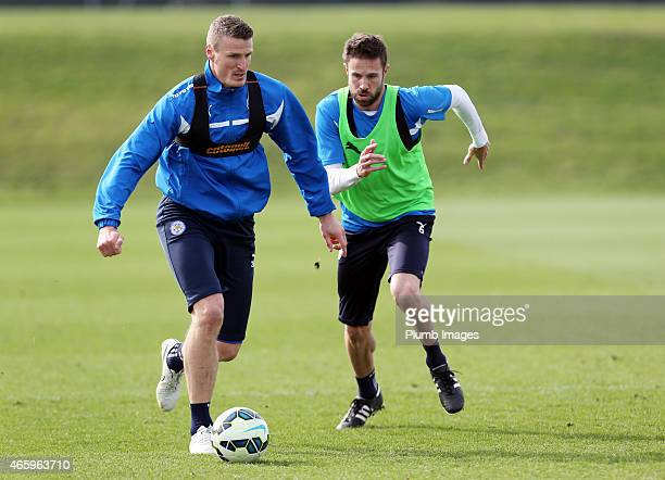 Leicester's Robert Huth under pressure from Matthew Upson during the Leicester City training session at Belvoir Drive Training Ground on March 12,...