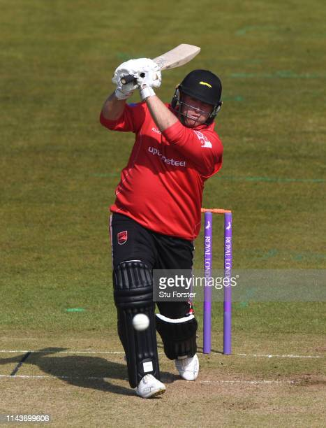 Leicestershire batsman Mark Cosgrove hits out during the Royal London One Day Cup match between Durham and Leicestershire at Emirates Riverside on...
