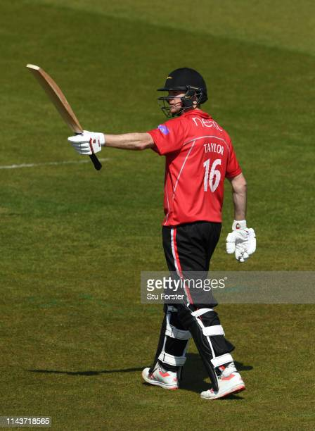 Leicestershire batsman Tom Taylor reaches his half century during the Royal London One Day Cup match between Durham and Leicestershire at Emirates...
