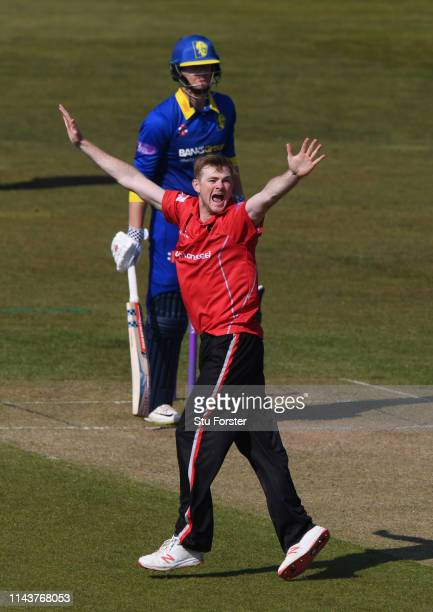 Leicestershire bowler Tom Taylor appeals during the Royal London One Day Cup match between Durham and Leicestershire at Emirates Riverside on April...