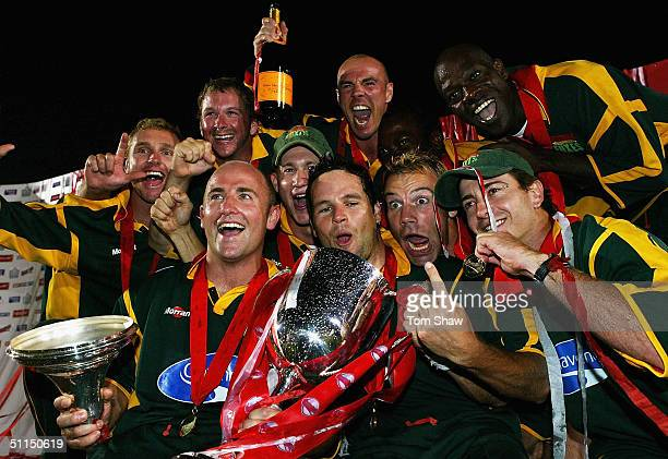 Leicestershire celebrate with the trophy at the end of the Surrey v Leicestershire Twenty20 cup Final match at Edgbaston Cricket Ground on August 7...