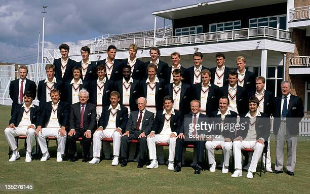 Leicestershire County Cricket Club at Grace Road in Leicester circa April 1990 Back row left to right Chris Hawkes Martin Gidley David Milns Alan...