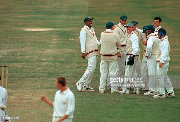 Leicestershire players celebrate the fall of a wicket during the Britannic Assurance County Championship match between Leicestershire and Middlesex...