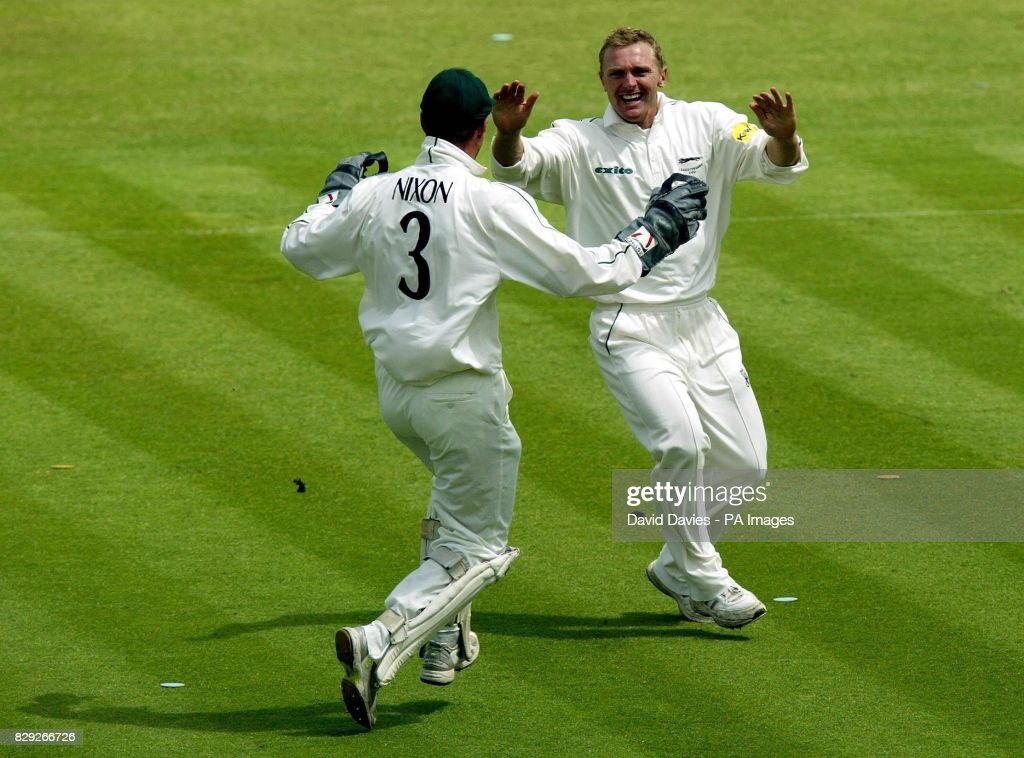 Leicestershire's Darren Maddy (right) celebrates with Paul Nixon after claiming the wicket of Worcestershire's Andy Hall for 0, his second wicket in 2 balls, during Worcester's innings of 216 in the Cheltenham & Gloucester quarter final at Grace Road, Leicester.