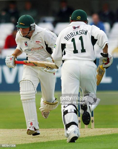 Leicestershire's John Maunders and Darren Robinson on the way to a century partneship during the Liverpool Victoria County Championship Division Two...