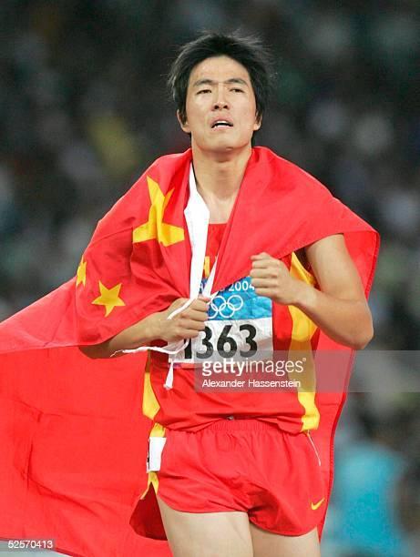 Leichtathletik: Olympische Spiele Athen 2004, Athen; 110m Huerden / Maenner; Gold: Xiang LIU / CHN, mit neuem Weltrekord 27.08.04.