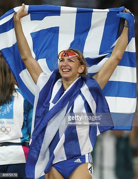 Leichtathletik Olympische Spiele Athen 2004 Athen 400m Huerden / Frauen Gold Fani HALKIA / GRE 250804