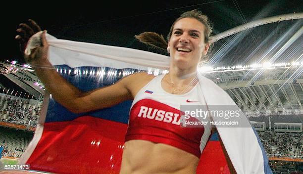 Leichtathletik: Olympische Spiele Athen 2004, Athen; Stabhochsprung / Frauen / Finale; Gold: Yelena ISINBAYEVA / RUS, nach ihrem Weltrekord von 4,91m...