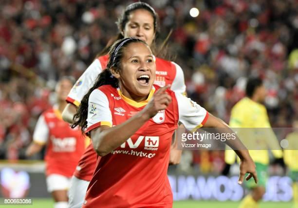 Leicy Santos of Independiente Santa Fe celebrates a scored goal during a second leg match between Independiente Santa Fe and Atletico Huila as part...