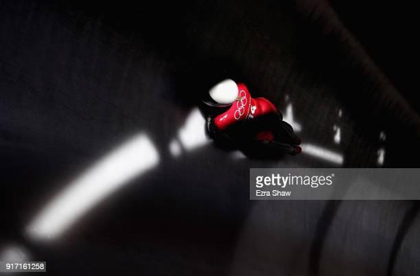 Leide Priedulena of Latvia slides down the track during women skeleton training at Olympic Sliding Centre on February 12, 2018 in Pyeongchang-gun,...