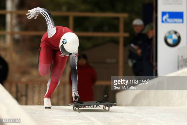 Leide Priedulena of Latvia takes a training run in the Women's Skeleton during the BMW IBSF Bobsleigh + Skeleton World Cup at Utah Olympic Park...