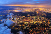 Leiden from the sky at night night