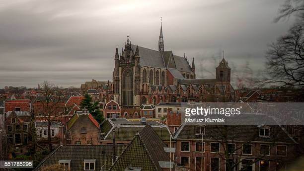 Leiden Holland cathedral and stormy clouds