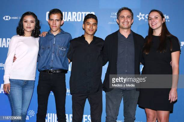 Leidi Gutierrez Gabriel Carbajal Benny Emmanuel and Gael Garcia Bernal during a press conference to present the film 'Chicuarotes' at Cinepolis Diana...