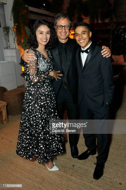 Leidi Gutierrez Gael Garcia Bernal and Benny Emmanuel at Nikki Beach for the Chicuarotes premiere party on May 20 2019 in Cannes France
