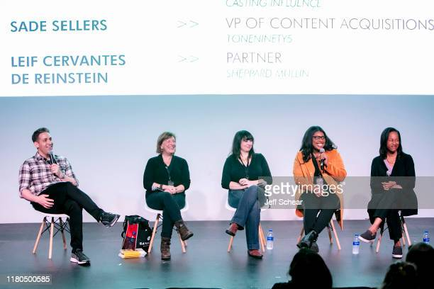 Leif Cervantes de Reinstein Barbara McCarthy Tanya Bershadsky Sade Sellers and Jill Dickerson attend a panel at the Catalyst Content Festival on...