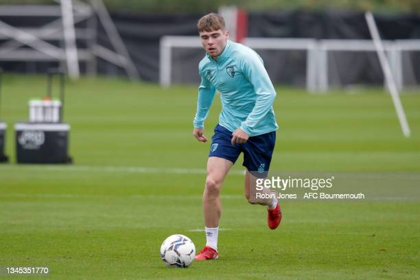 Leif Davis of Bournemouth during a training session at the Vitality Stadium on October 07, 2021 in Bournemouth, England.