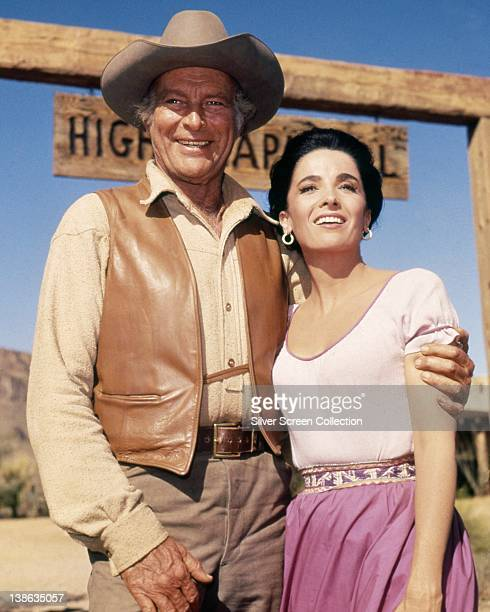 Leif Erickson US actor and Linda Cristal Argentinian actress both in costume in a smiling in a portrait issued as publicity for the US television...