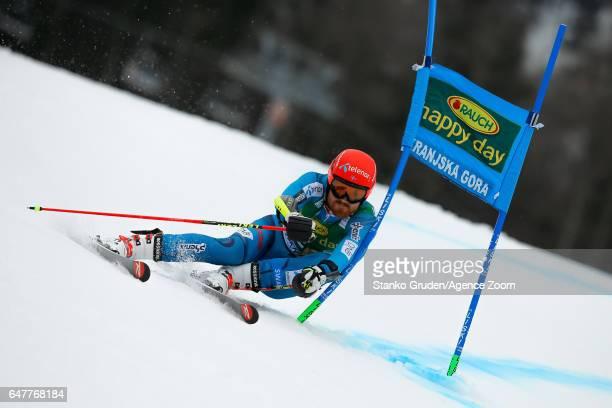 Leif Kristian Haugen of Norway competes during the Audi FIS Alpine Ski World Cup Men's Giant Slalom on March 04 2017 in Kranjska Gora Slovenia