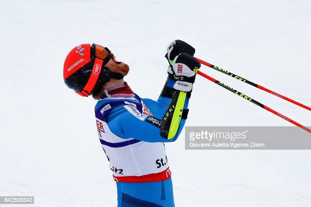 Leif Kristian Haugen of Norway wins the bronze medal during the FIS Alpine Ski World Championships Men's Giant Slalom on February 17 2017 in St...