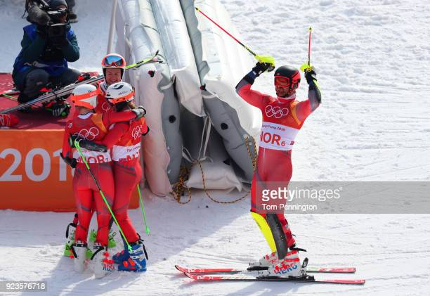 Leif Kristian NestvoldHaugen of Norway celebrates winning the bronze medal with Kristin Lysdahl Sebastian FossSolevaag and Nina HaverLoeseth during...