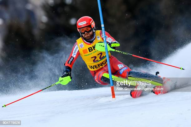 Leif Kristian Nestvoldhaugen of Norway competes during the Audi FIS Alpine Ski World Cup Men's Slalom on January 14 2018 in Wengen Switzerland