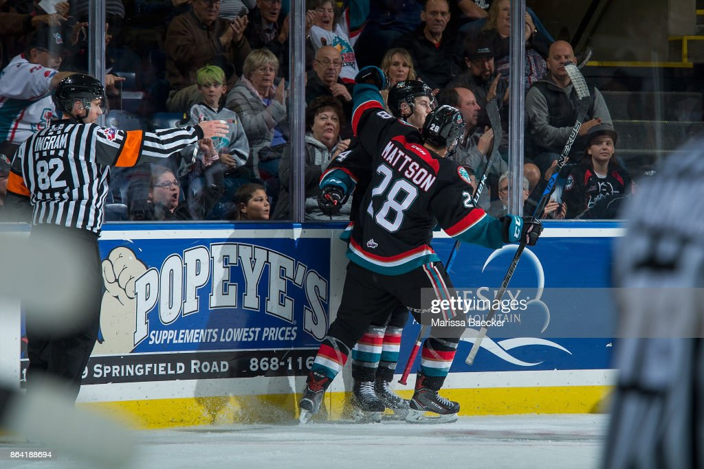 Leif Mattson #28 of the Kelowna Rockets celebrates a third period goal against the Portland Winterhawks at Prospera Place on October 20, 2017 in Kelowna, Canada.